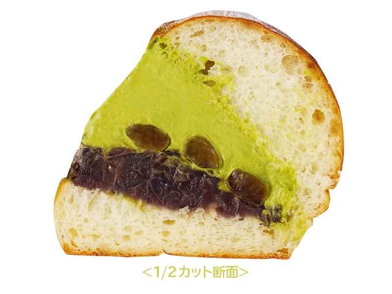 """極生""""ミルクバター""""宇治抹茶あずきと黒糖わらびもちの断面図のイメージ写真"""